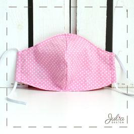 Mundmaske - 2-lagig - rosa weiße Pünktchen