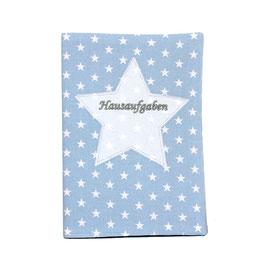 Hausaufgabenheft Hefthülle DIN A5, personalisierbar - hellblau weiße Sterne