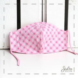 Mundmaske - 2-lagig - rosa Blümchenmuster