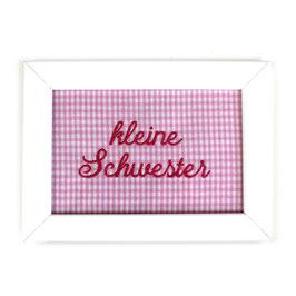 """Schild rosa Vichykaro, Aufschrift """"kleine Schwester"""" - oder personalisierbar"""