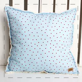 Teddy-Kissen quadratisch - hellblau mit roten Punkten