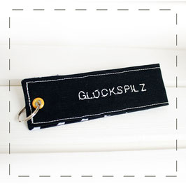 """Schlüsselanhänger - blau """"Glückspilz"""""""