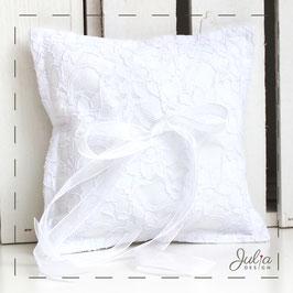 Ringkissen - weiß Baumwolle Spitze