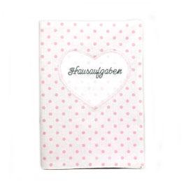 Hausaufgabenheft - weiß rosa Punkte