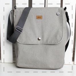 Messengertasche Milena - grau weiße Pünktchen
