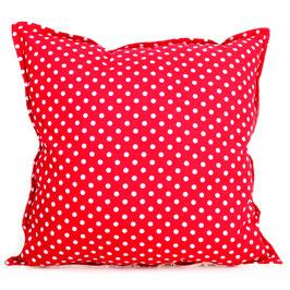 Teddy-Kissen quadratisch - rot Punkte
