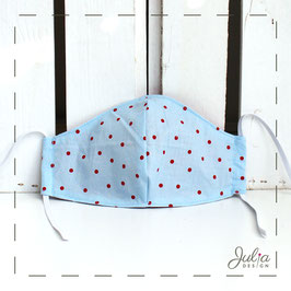 kleine Stoffmaske - hellblau, rote Punkte