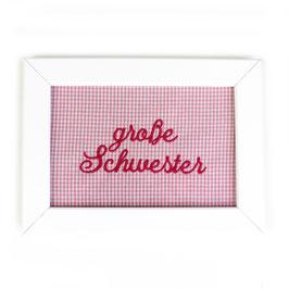 """Schild rosa Minikaro,  Aufschrift """"große Schwester"""" - oder personalisierbar"""