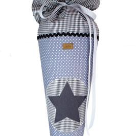 Schultüte personalisierbar - grau weiße Pünktchen