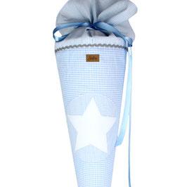 Schultüte personalisierbar - hellblau weiß Vichykaro