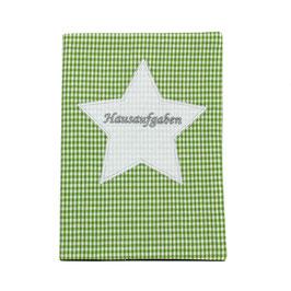 Hausaufgabenheft Hefthülle DIN A5, personalisierbar - grün weißes Vichykaro