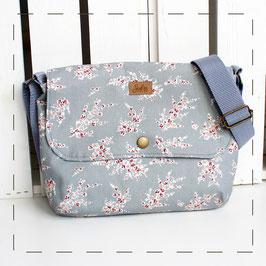 Handtasche Sophie - staubblau Blumenmuster