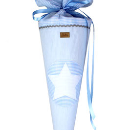 Schultüte personalisierbar - hellblau weiß gestreift