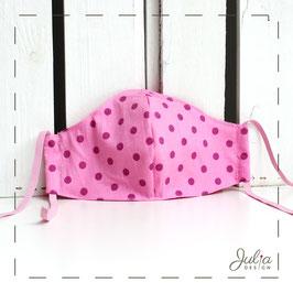 kleine Stoffmaske - rosa, lila Punkte