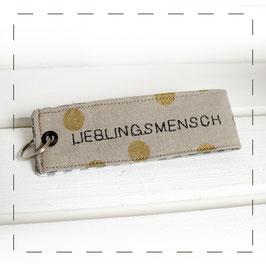 """Schlüsselanhänger - grau gold """"Lieblingsmensch"""""""