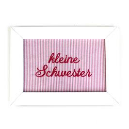 """Schild rosa gestreift,  Aufschrift """"kleine Schwester"""" - oder personalisierbar"""