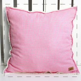Teddy-Kissen quadratisch - rosa Vichy