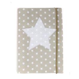 U-Heft-Hülle beige Sterne - personalisierbar