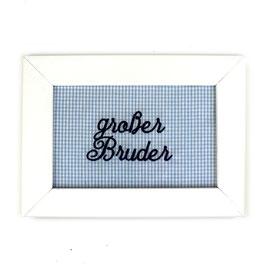 """Schild hellblau Minikaro,  Aufschrift """"großer Bruder"""" - oder personalisierbar"""
