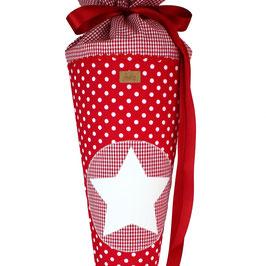 Schultüte personalisierbar - rot weiße Punkte