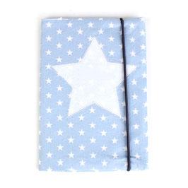 U-Heft-Hülle hellblau mit Sternen - personalisierbar