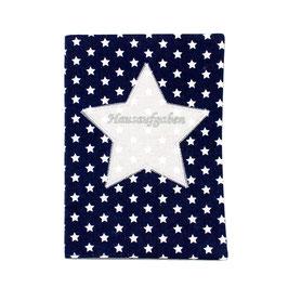 Hausaufgabenheft Hefthülle DIN A5, personalisierbar - dunkelblau weiße Sterne