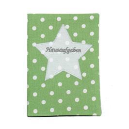 Hausaufgabenheft Hefthülle DIN A5, personalisierbar - grün weiße Punkte