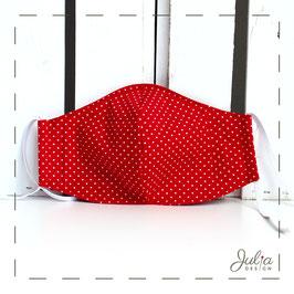 Mundmaske - 2-lagig - rot weiße Pünktchen