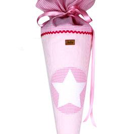 Schultüte personalisierbar - rosa weiß gestreift