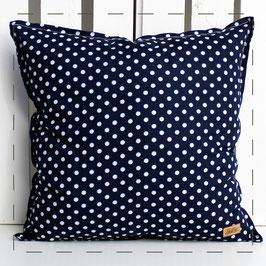 Kissen quadratisch - dunkelblau weiße Punkte
