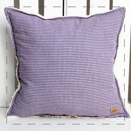 Teddy-Kissen quadratisch - lila Vichy