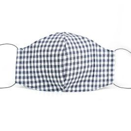 Stoffmaske für Erwachsene - grau weiß kariert