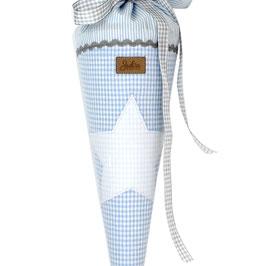 Geschwister Schultüte personalisierbar - hellblau Vichykaro