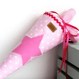 Geschwister Schultüte personalisierbar - rosa weiße Sterne