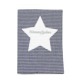 Hausaufgabenheft Hefthülle DIN A5, personalisierbar - dunkelblau weißes Vichykaro