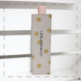 Lesezeichen - grau goldene Punkte