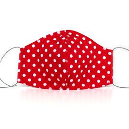 Mundmaske - 2-lagig - rot weiße Punkte
