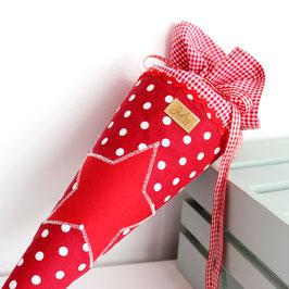 Geschwister Schultüte personalisierbar - rot weiße Punkte