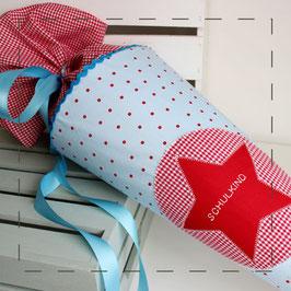 Schultüte - hellblau rot gepunktet