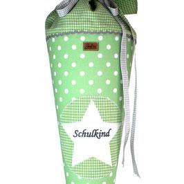 Schultüte personalisierbar - grün Punkte
