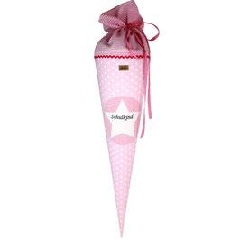 Schultüte personalisierbar - rosa weiße Sterne