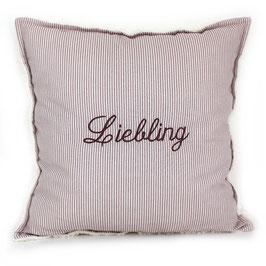 "Teddy-Kissen quadratisch - altrosa gestreift mit Aufschrift ""Liebling"""