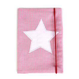 U-Heft-Hülle rosa Minikaro - personalisierbar