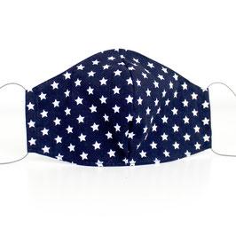 Mundmaske - 2-lagig - blau weiße Sterne