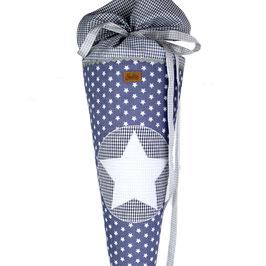 Schultüte personalisierbar - grau weiße Sterne