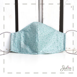 Mundmaske - 2-lagig - grünblau Blümchen