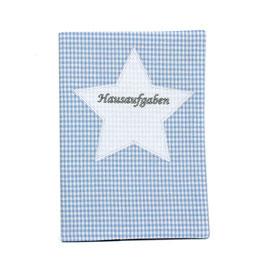 Hausaufgabenheft Hefthülle DIN A5, personalisierbar - hellblau weißes Vichykaro