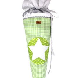 Schultüte personalisierbar - grün weißes Vichykaro