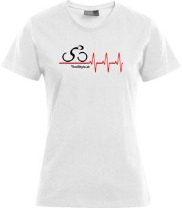 """Damen Premium T-Shirt, Kurzarm, weiß """"Klassiker"""" Radfahrerin mit Herzschlag"""