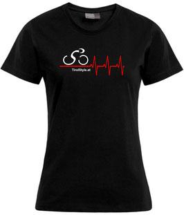 """Damen Premium T-Shirt, Kurzarm, schwarz """"Klassiker"""" Radfahrerin mit Herzschlag"""